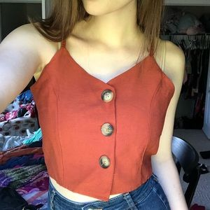 Terra-cotta button up tank from Romwe